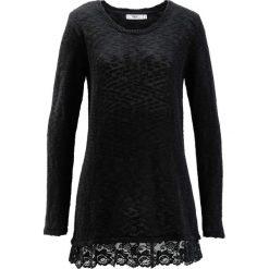 Sweter z koronką, długi rękaw bonprix czarny. Swetry damskie marki bonprix. Za 59.99 zł.