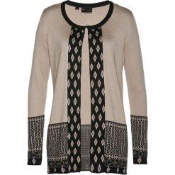 Sweter rozpinany z domieszką kaszmiru bonprix kamienisto-czarno-brązowy. Kardigany damskie marki bonprix. Za 169.99 zł.