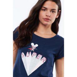 Etam - Top piżamowy Sixtine. Czarne piżamy damskie Etam, z nadrukiem, z bawełny, z krótkim rękawem. Za 69.90 zł.