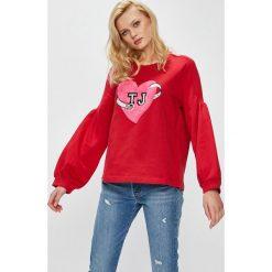 Trussardi Jeans - Bluza. Szare bluzy damskie TRUSSARDI JEANS, z aplikacjami, z bawełny. W wyprzedaży za 299.90 zł.