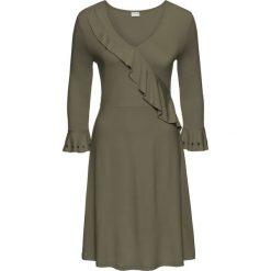 Sukienka z dżerseju z falbaną bonprix oliwkowy. Zielone sukienki damskie bonprix, z dżerseju, eleganckie. Za 59.99 zł.
