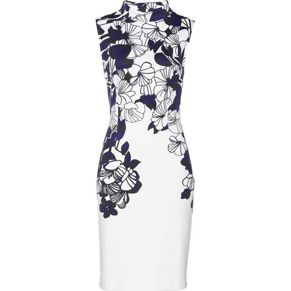 628cd34d1a Sukienka bonprix biało-czarno-błękit królewski z nadrukiem ...