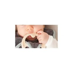 LullaLove SupeRRO Baby Eco Śliniak z drewnianym gryzakiem ecru. Szare śliniaki dla dzieci LullaLove. Za 49.00 zł.