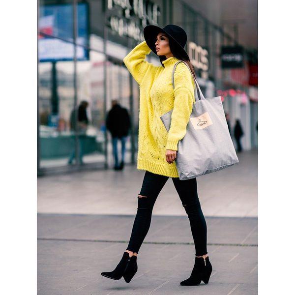 Tote bag z tkaniny płóciennej jasnoszara street fashion jasny szary