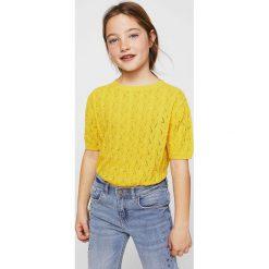 Mango Kids - Sweter dziecięcy Zig 116-152 cm. Swetry dla dziewczynek Mango Kids, z bawełny, z okrągłym kołnierzem. Za 79.90 zł.