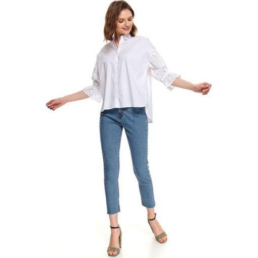 Koszula długi rękaw damska gładka Białe koszule damskie  XHO74