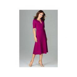 Sukienka K478 Fuksja. Czerwone sukienki damskie Lenitif, dekolt w kształcie v. Za 179.00 zł.