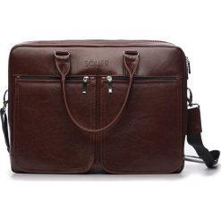 Torba Solier Męska torba ze skóry na ramię, laptopa ROYAL brązowy. Brązowe torby na laptopa męskie Solier, ze skóry. Za 449.00 zł.
