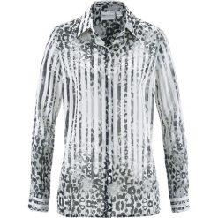 Bluzka z nadrukiem bonprix biało-czarny z nadrukiem. Białe bluzki damskie bonprix, z nadrukiem, z materiału, z długim rękawem. Za 32.99 zł.
