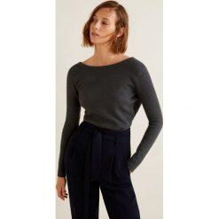Mango - Sweter Crossed. Czarne swetry damskie Mango, z dzianiny, z dekoltem w łódkę. Za 99.90 zł.