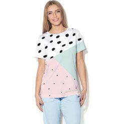 Colour Pleasure Koszulka CP-030  28 biało-różowo-miętowa r. XL/XXL. Bluzki damskie Colour Pleasure. Za 70.35 zł.
