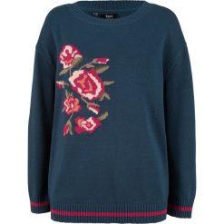 Sweter w kwiaty bonprix ciemnoniebieski wzorzysty. Swetry damskie marki bonprix. Za 49.99 zł.