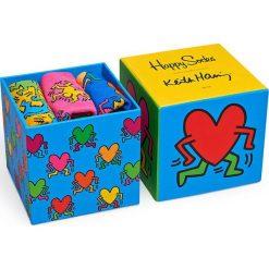 Happy Socks - Skarpetki Keith Haring Sock Box Set (3-pak). Niebieskie skarpety damskie Happy Socks, z bawełny. W wyprzedaży za 99.90 zł.