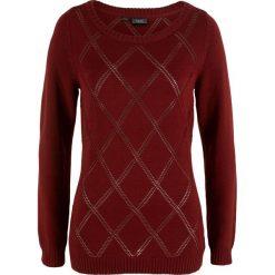 Sweter w ażurowy wzór bonprix czerwony kasztanowy. Swetry damskie marki KALENJI. Za 37.99 zł.