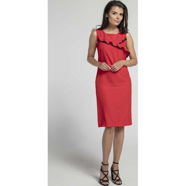 1b6ccf20c9 Czerwona Klasyczna Dopasowana Sukienka z Falbanką na Przodzie ...