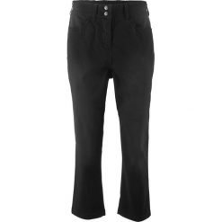 Spodnie 3/4 ze stretchem i wygodnym paskiem w talii bonprix czarny. Spodnie materiałowe damskie marki DOMYOS. Za 99.99 zł.