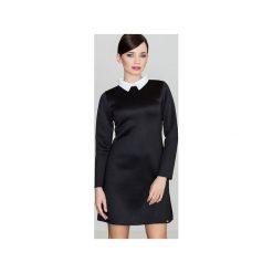 Sukienka K245 Czarny. Czarne sukienki damskie Lenitif, z dzianiny, eleganckie, z koszulowym kołnierzykiem, z długim rękawem. Za 139.00 zł.