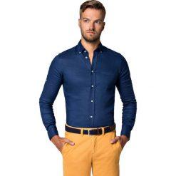 Koszula Granatowa Cheryl. Niebieskie koszule męskie LANCERTO, na lato, z bawełny, button down, z krótkim rękawem. Za 299.90 zł.