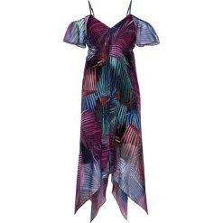 Sukienka z dłuższymi bokami bonprix z kolorowym nadrukiem. Szare sukienki damskie bonprix, w kolorowe wzory. Za 69.99 zł.
