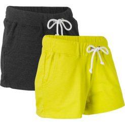 Szorty dresowe (2 pary) bonprix zielona limonka + antracytowy melanż. Spodnie dresowe damskie marki KIPSTA. Za 75.98 zł.