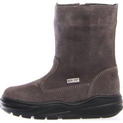 """Skórzane kozaki zimowe """"Ver"""" w kolorze antracytowym. Buty zimowe dziewczęce Zimowe obuwie dla dzieci. W wyprzedaży za 215.95 zł."""