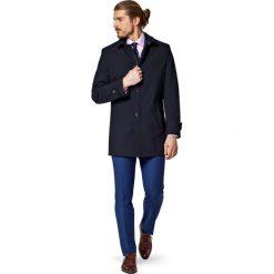Płaszcz Granatowy Veolia. Niebieskie płaszcze męskie LANCERTO, na wiosnę, z jeansu, biznesowe. W wyprzedaży za 559.90 zł.