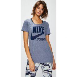 Nike Sportswear - Top. Szare topy damskie Nike Sportswear, z nadrukiem, z bawełny, z okrągłym kołnierzem, z krótkim rękawem. Za 79.90 zł.