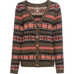 Sweter rozpinany bonprix ciemnozielono-brązowy wzorzysty. Kardigany damskie marki bonprix. Za 59.99 zł.