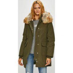 Calvin Klein Jeans - Parka puchowa. Brązowe parki damskie Calvin Klein Jeans, z bawełny. Za 1,499.00 zł.