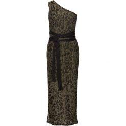 Sukienka wieczorowa z brokatowym połyskiem bonprix czarno-złoty wzorzysty. Czarne sukienki damskie bonprix, z nadrukiem, wizytowe. Za 149.99 zł.