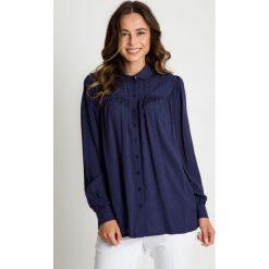 Granatowa koszula z długim rękawem  BIALCON. Szare koszule damskie BIALCON, wizytowe, z długim rękawem. W wyprzedaży za 105.00 zł.