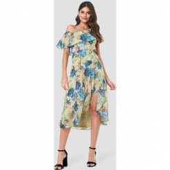 Trendyol Sukienka midi z falbaną - Multicolor. Szare sukienki damskie Trendyol, z poliesteru. W wyprzedaży za 72.89 zł.