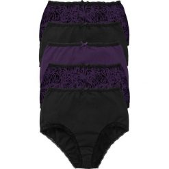 Figi z wysoką talią (5 par) bonprix czarno-ciemny lila z nadrukiem. Figi damskie marki KALENJI. Za 64.95 zł.