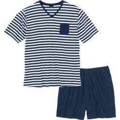 Piżama z krótkimi spodenkami bonprix ciemnoniebiesko-biały w paski. Niebieskie piżamy męskie bonprix, w paski, z krótkim rękawem. Za 44.99 zł.