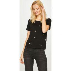 Guess Jeans - Top Eyelets. Czarne topy damskie Guess Jeans, z aplikacjami, z dzianiny, z okrągłym kołnierzem, z krótkim rękawem. Za 229.90 zł.