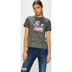 Pepe Jeans - Top. Szare topy damskie Pepe Jeans, z nadrukiem, z bawełny, z okrągłym kołnierzem, z krótkim rękawem. W wyprzedaży za 99.90 zł.