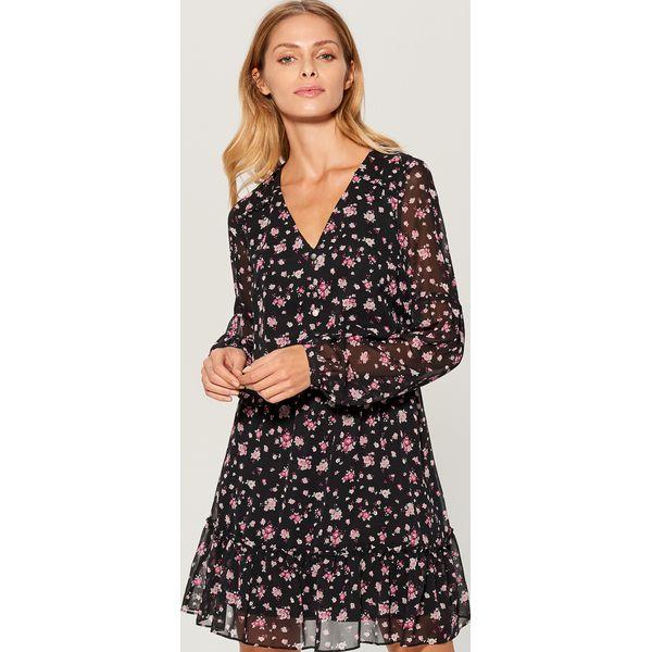 78aa60d9cc Sukienka w kwiaty z falbaną - Wielobarwn - Brązowe sukienki damskie ...