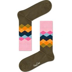 Happy Socks - Skarpetki Faded Diamond. Brązowe skarpety damskie Happy Socks, z bawełny. W wyprzedaży za 29.90 zł.