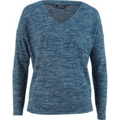 Sweter z polaru z dekoltem w serek bonprix ciemnoniebieski melanż. Swetry damskie marki bonprix. Za 49.99 zł.