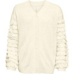 Sweter rozpinany z rękawami z frędzlami bonprix kremowy. Brązowe kardigany damskie bonprix. Za 149.99 zł.