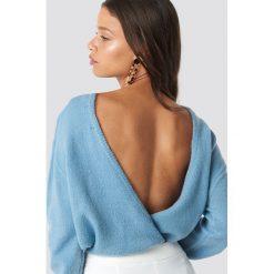 NA-KD Trend Dzianinowy sweter z kopertowym tyłem - Blue. Niebieskie swetry damskie NA-KD Trend, z dzianiny, z kopertowym dekoltem. Za 121.95 zł.