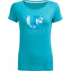 T-shirt damski  TSD611 - mięta - Outhorn. Niebieskie t-shirty damskie Outhorn, z nadrukiem, z elastanu. W wyprzedaży za 24.99 zł.