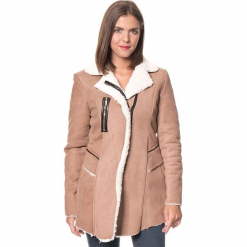 """Płaszcz """"Ines"""" w kolorze jasnobrązowym. Brązowe płaszcze damskie Assuili, na zimę, klasyczne. W wyprzedaży za 227.95 zł."""