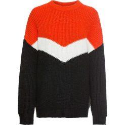 Sweter dzianinowy bonprix czerwono-biało-czarny. Swetry damskie marki bonprix. Za 119.99 zł.