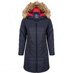 Płaszcz zimowy w kolorze granatowym. Niebieskie płaszcze damskie Giorgio di Mare, na zimę, z materiału. W wyprzedaży za 347.95 zł.
