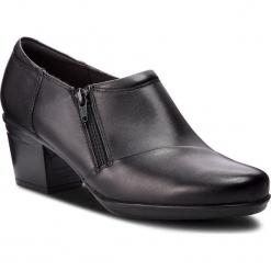 Półbuty CLARKS - Emslie Claudia 261370244 Black Leather. Czarne półbuty damskie Clarks, z materiału, eleganckie. W wyprzedaży za 259.00 zł.