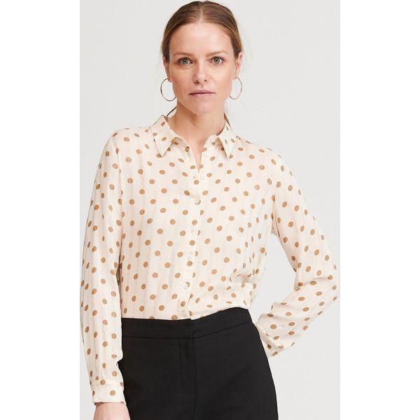 Koszula w grochy Kremowy Białe koszule damskie Reserved  PWCpM