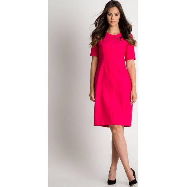 5377e0cc9b Różowa sukienka z krótkim rękawem BIALCON - Czerwone sukienki ...
