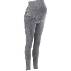 Legginsy ciążowe bonprix szary łupkowy. Szare legginsy damskie bonprix, z bawełny. Za 89.99 zł.