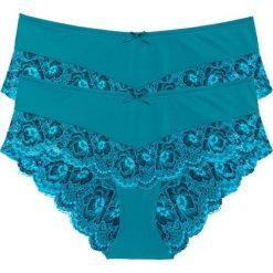 """Figi """"panty"""" (2 pary) bonprix turkusowo-ciemnoniebieski. Niebieskie figi damskie bonprix, z bawełny. Za 49.98 zł."""